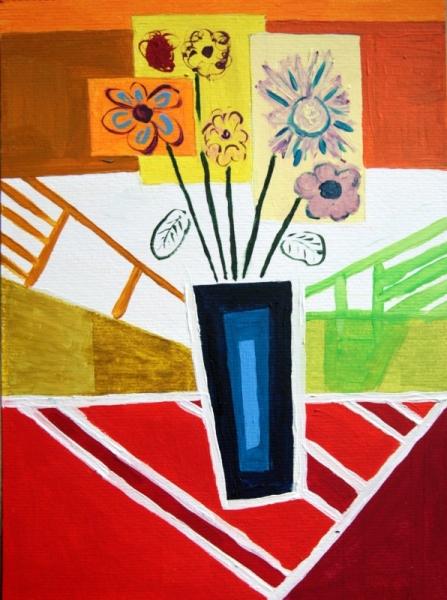 tableau peinture fleurs vase pot fleurs dans le pot bleu. Black Bedroom Furniture Sets. Home Design Ideas