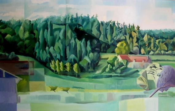tableau peinture for u00eat arbre cubiste paysage