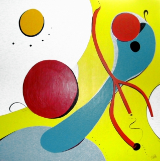 Tableau peinture forme narrative couleur gaie a table a for Forme peinture