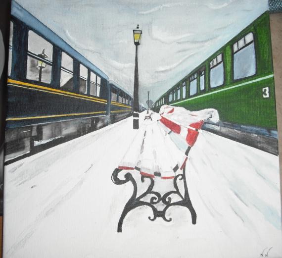 Tableau peinture gare neige banc quai de gare vendu for Exterieur quai gare de l est