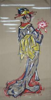 tableau peinture geisha asiatique jaune rouge geisha. Black Bedroom Furniture Sets. Home Design Ideas