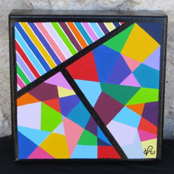 Célèbre TABLEAU PEINTURE géométrie forme acrylique abstrait - AB1 BJ78