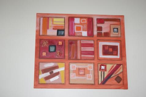 tableau peinture g om trique carr triangle room show. Black Bedroom Furniture Sets. Home Design Ideas