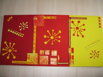 tableau peinture g om trique orange jaune vert tableau en relief rouge et jaune. Black Bedroom Furniture Sets. Home Design Ideas