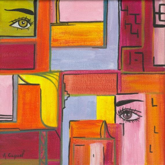 tableau peinture geometrique yeux regard portes regards crois s. Black Bedroom Furniture Sets. Home Design Ideas