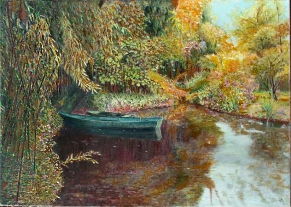 Tableau peinture giverny automne monet barque a giverny for Artistes peintres connus
