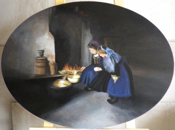 Foyer Grand Mere : Tableau peinture grand mère foyer cuisine petite fille