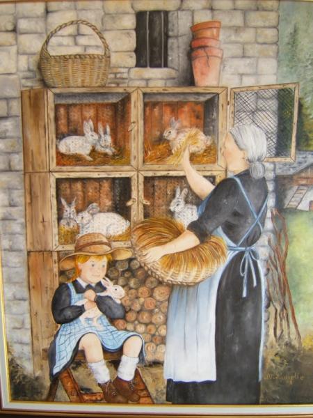 tableau peinture grand mre lapins clapiers enfances le. Black Bedroom Furniture Sets. Home Design Ideas