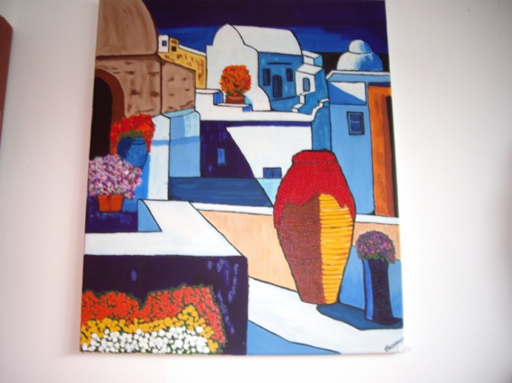 Tableau peinture grce paysage bleu grce - Peinture facile a reproduire ...