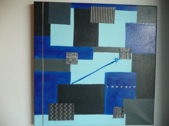 tableau peinture gris bleu noir carr s gratte ciels. Black Bedroom Furniture Sets. Home Design Ideas