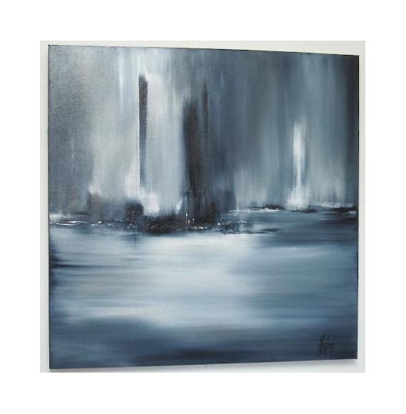 Tableau peinture gris horizon abstrait mer lointain - Peinture tableau gris ...