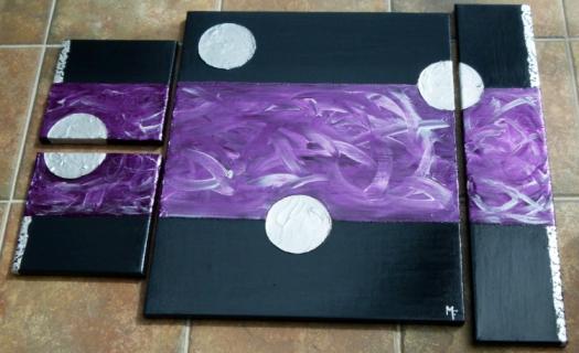 Tableau peinture gris violet argent ronds argent s sur - Peinture gris violet ...