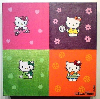 tableau peinture hello kitty chambre fille deco hello kitty. Black Bedroom Furniture Sets. Home Design Ideas