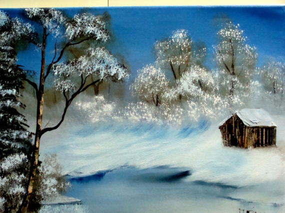 tableau peinture hiver cabane chasse paysage la cabane du chasseur. Black Bedroom Furniture Sets. Home Design Ideas