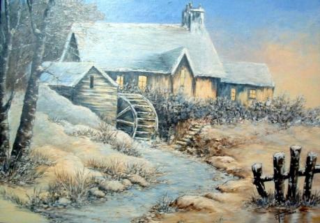 TABLEAU PEINTURE hiver chaumiere winter snow - Chaumiere en hiver
