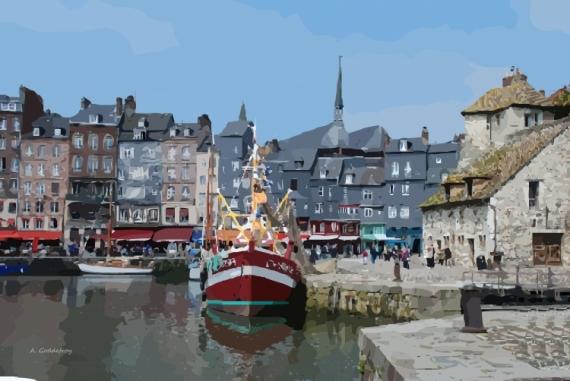 Tableau peinture honfleur port normandie port d 39 honfleur - Le bistrot du port honfleur ...