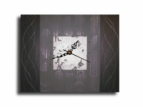 tableau peinture horloge pendule gris tableau tableau. Black Bedroom Furniture Sets. Home Design Ideas