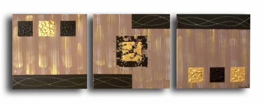 tableau peinture horloge triptyque marron or tableau triptyque horloge marron dor moderne. Black Bedroom Furniture Sets. Home Design Ideas