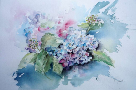 tableau peinture hortensia fleurs jardin bouquet hortensias. Black Bedroom Furniture Sets. Home Design Ideas