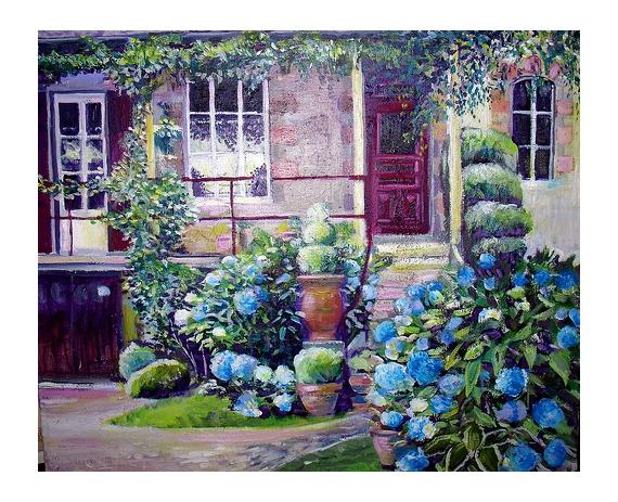 Photo collection tableau peinture hortensia fleurs for Peinture acrylique maison