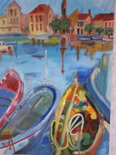 tableau peinture huile sur bois port sanary bateaux ville port de sanary. Black Bedroom Furniture Sets. Home Design Ideas