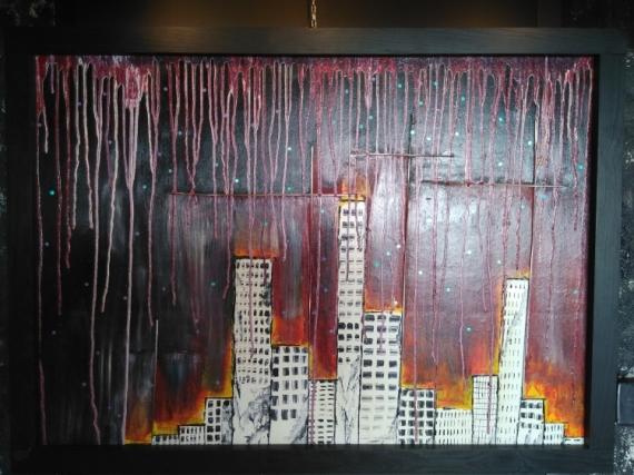 Tableau peinture immeuble new york for Concevoir mon propre immeuble