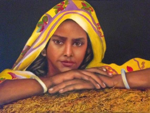 Populaire TABLEAU PEINTURE indienne portrait femme visage - la jeune indienne HQ06