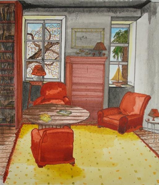 Tableau peinture int rieur salon coin salon - Tableau decoration interieur ...