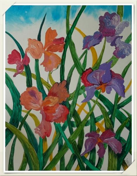 Maison Interieur Bois Moderne :  PEINTURE Iris Peinture Acrylique Fleurs Fleurs Acrylique  Les iris