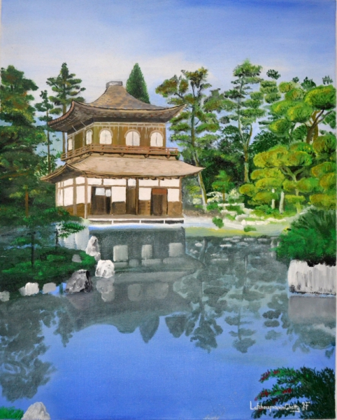 tableau peinture japon paysage temple zen ginkaku ji temple. Black Bedroom Furniture Sets. Home Design Ideas