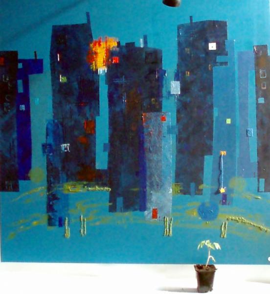 Tableau peinture jardin zola tomate bleue banlieue hlm for Au jardin de la nymphe bleue