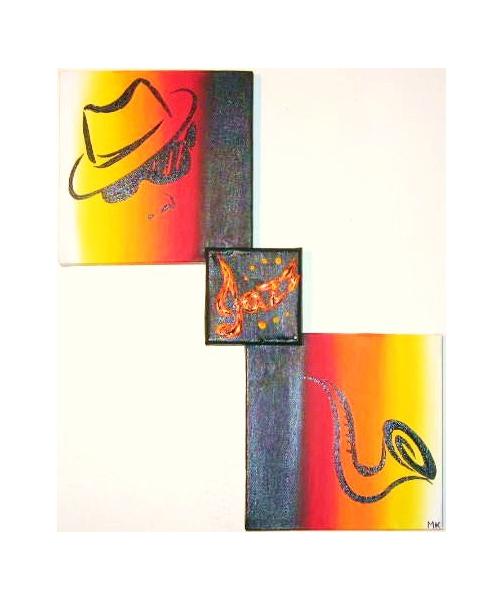 Tableau moderne couleur chaude for Peinture couleurs chaudes
