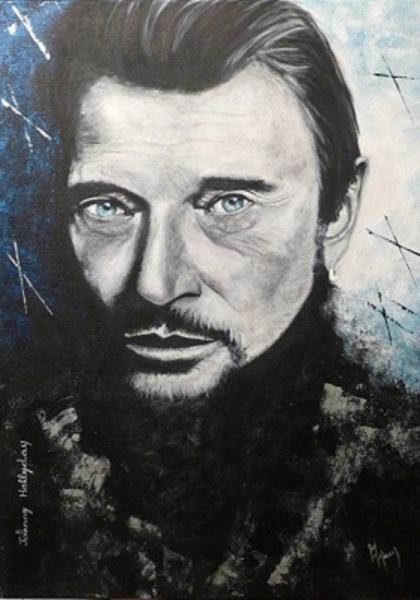 Tableau peinture johnny hallyday star rock peinture art for Tableau portrait noir et blanc