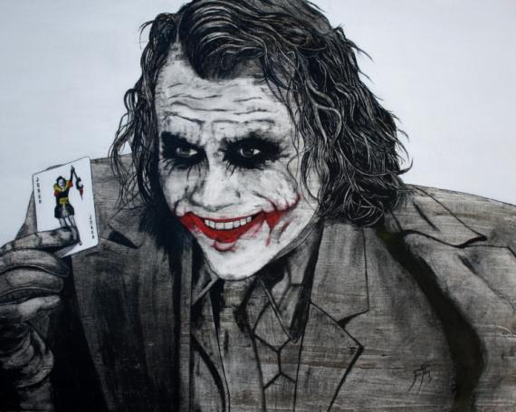 Tableau peinture joker heath ledger b ton encre de chine - Le joker dessin ...