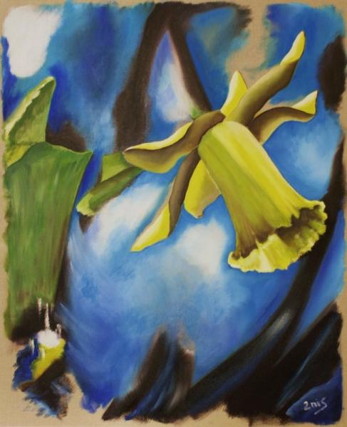 tableau peinture jonquille nature fleur jardin - retour des beaux