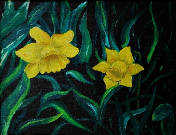 tableau peinture jonquilles printemps - les jonquilles
