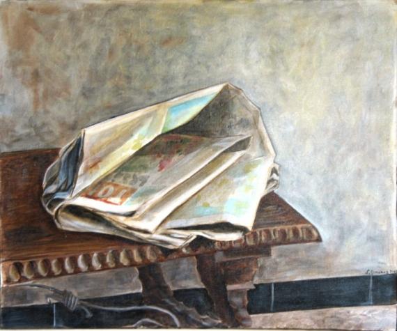 Tableau peinture journal table espagne table basse en espagne for Peinture table basse