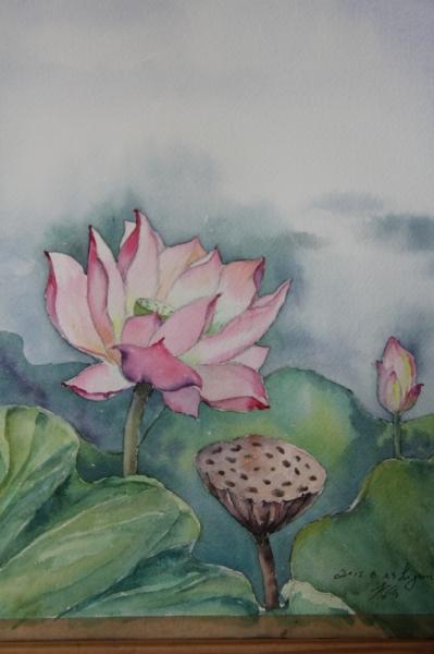 Finest tableau peinture lut fleur fleurs aquarelle lotus - Comment dessiner une fleur de lotus ...