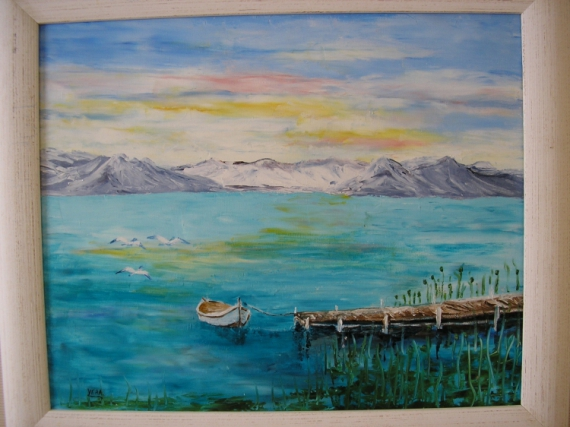 tableau peinture lac bateau montagne sur le lac. Black Bedroom Furniture Sets. Home Design Ideas