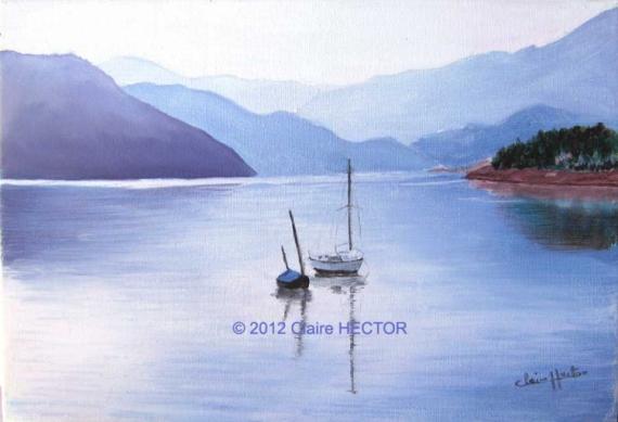 tableau peinture lac eau bateau calme - matin au bord de l'eau - Peinture A L Eau Sur Peinture A L Huile