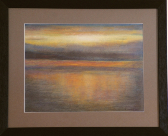 tableau peinture lac lman coucher de soleil paysage pastel pastel lac coucher de soleil sur le. Black Bedroom Furniture Sets. Home Design Ideas
