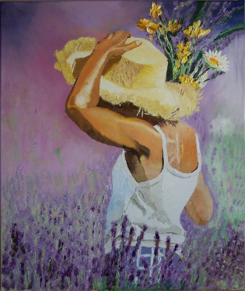 Tableau peinture lavande provence jeune fille fleurs jeune fille la lavande - Peinture couleur lavande ...