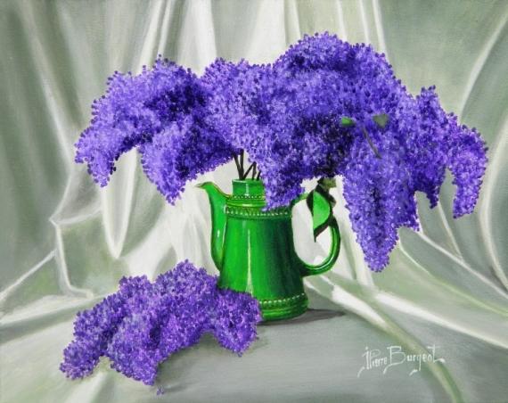 Chambre Fille Bleu Et Violet : TABLEAU PEINTURE lilas fleurs bouquet printemps  BOUQUET DE LILAS
