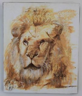 Tableau peinture lion savane afrique roi savane - Animaux du roi lion ...