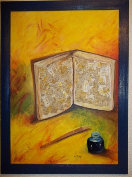 tableau peinture livre plume jaune encrier le livre et la plume. Black Bedroom Furniture Sets. Home Design Ideas