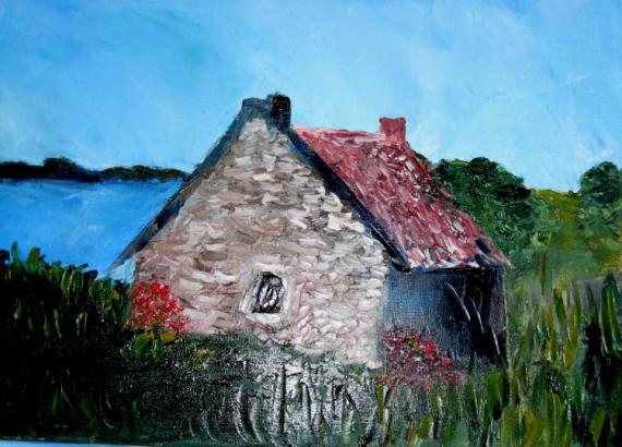 Tableau peinture maison bretagne vieilles pierres mer for Art maison la thuile