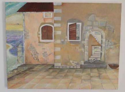 tableau peinture maison chat ancienne fen tre la maison du guet. Black Bedroom Furniture Sets. Home Design Ideas
