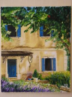 tableau peinture maison facade provence les volets bleu. Black Bedroom Furniture Sets. Home Design Ideas