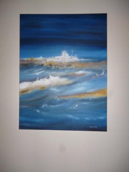 Tableau peinture marine abstrait arcachon contemporain for Toile a bassin