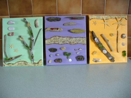 tableau peinture marine bois flott coquillage sable sable dor. Black Bedroom Furniture Sets. Home Design Ideas